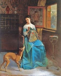 F. R. Deleub Lady with Whippet