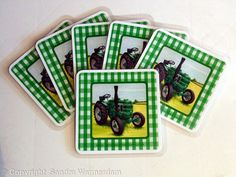Field Maschall Tractor Coasters - Laminated Coasters, set of 6