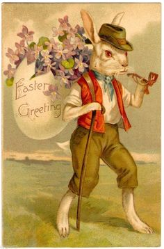 Postcard Easter Greeting Dressed Rabbit with Pipe and Violets | eBay