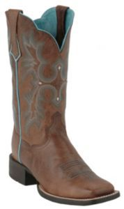 Ariat®Tombstone™ Ladies Sassy Brown w/Turquoise Stitch Double Welt Square Toe Boot   Cavender's