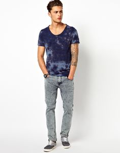 River Island V-Neck T-Shirt with Stripe