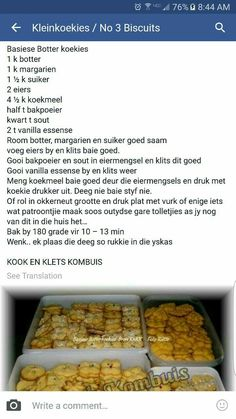 Kos, Baking Recipes, Cookie Recipes, Dessert Recipes, Desserts, South African Recipes, Biscuit Recipe, No Bake Cake, Sweet Recipes
