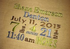 Birth Announcement Subway Art Embroidery Name Date by AuntieDonnas