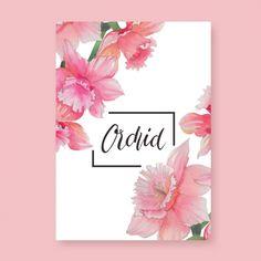 Diseño de tarjeta de orquídea rosa Vector Gratis
