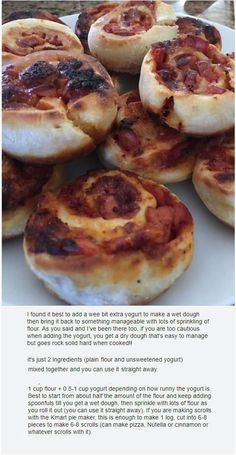 Pizza Scrolls ____ using two ingredient dough ____ fr FB ____ Baked, Finger food, Plain flour, Unsweetened yogurt, Mini Pie Recipes, Pastry Recipes, Lunch Recipes, Potato Pancakes, Cooking Appliances, Mini Pies, Bread And Pastries, Finger Foods, Tarts