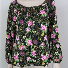 BETSEY JOHNSON Secret Garden Blouse! NWT! BETSEY JOHNSON Secret Garden Blouse! NWT! Long peasant sleeve with elastic cuff. Keyhole round neckline and tie on front. Stretchy matte jersey fabric. Pull on, loose fit. 98% cotton 2% spandex. Machine washable. Size Medium. Betsey Johnson Tops Blouses