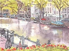 Amsterdam City Canal and Street Another Ink by JulianLovegroveArt