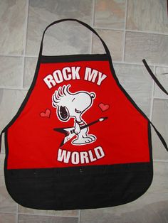 Snoopy Rock My World Apron or Adult Bib by funfoodsaprons on Etsy