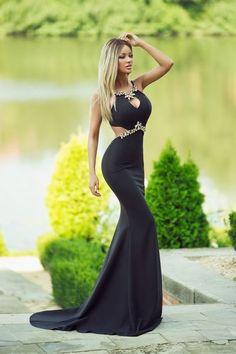 sexy black prom dress, halter black evening dress,11
