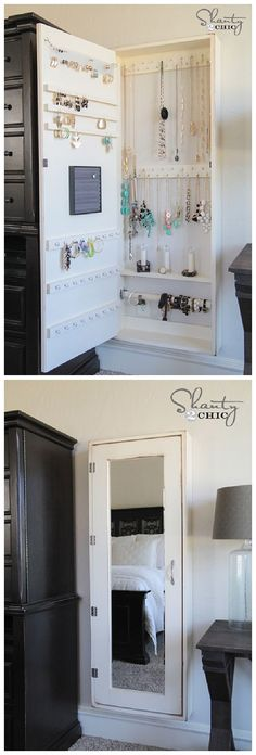DIY Bathroom Organization Ideas - DIY Jewelry Organizer Cabinet and Full Length Mirror all in one - Step by Step Do it Yourself Tutorial via Shanty2Chic