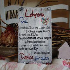 """Deko-Objekte - Shabby Schild """"Lehrerin"""" Schule Geschenk - ein Designerstück von handsart-handarbeit bei DaWanda"""