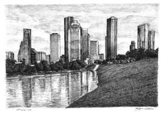 Houston, Texas (USA) - drawings and paintings by Stephen Wiltshire MBE. He's autistic and can recollect detailed images from brief encounters then draw them with extreme accuracy. definitely gotta get some of his work some day.