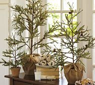 These are faux, but our woods are full of teeny, tiny trees that I could dig up and wrap in burlap for the same look! ...who am I kidding, I'll never do that, but I still love the look.  It's the thought that counts, right!?!