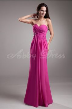 Stretch satin, Chiffon Floor-length Sweetheart Fuchsia Sexy, Unique Special Occasion Dresses Wedding Party, Formal Evening £52.32 - Abbydress.com
