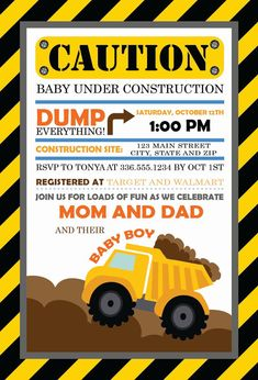 Caution Baby Under Construction Baby Shower Invitation by DTCNC, $10.00