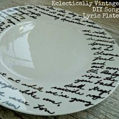 DIY Song Lyrics Plate