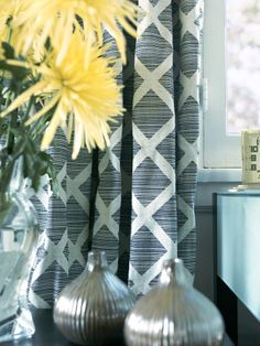 """Love these Curtains and the pop of the yellow flower next to them! """"Eclectic Home-offices from Erinn Valencich on HGTV"""""""