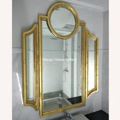 Size: 150 cm x 122 cm Trifold Mirror The post Tri Fold Mirror Bathroom with Gold Frame MG 030001 first appeared on Venetian Wall Mirror - Antique Venetian Mirror - Furniture Mirror Supplier.