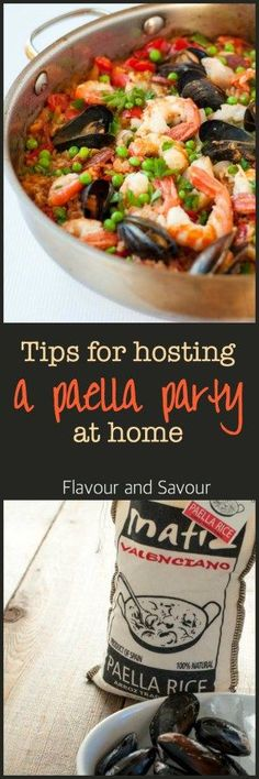 Tips for hosting a Paella Party in your kitchen. How to make paella, a traditional Spanish rice and seafood dish. Create the festive atmosphere of an outdoor paella party & have just as much fun.
