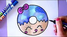 Drawing for kids easy how to draw a cartoon donut easy drawing kids youtu. Cool Drawings For Kids, Drawing Lessons For Kids, Cute Cartoon Drawings, Cute Easy Drawings, Cute Kawaii Drawings, Art For Kids, Kid Drawings, Kawaii Disney, Painting & Drawing