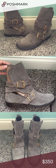 BURBERRY WORCESTER GREY SUEDE SHORT BOOTS SZ- 37 Worn once!! In mint condition. The best condition you will find. They are: BURBERRY WORCESTER MOLE BUCKLES BELTED GREY SUEDE SHORT BOOTS ANKLE SZ - 37 Burberry Shoes Ankle Boots & Booties