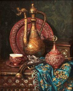 Ernst Czernotzky — Still life with Oriental Decorative Items Still Life Drawing, Still Life Art, Pen & Paper, Arabian Art, Turkish Art, Egyptian Art, Ancient Art, Islamic Art, Traditional Art