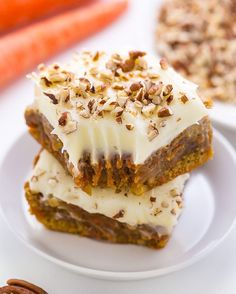 If you like carrot cake, you're going to LOVE these Carrot Cake Blondies! Slathered in cream cheese frosting and topped with crunchy pecans, they're irresistible! Direct #recipe link in my profile @bakerbynature