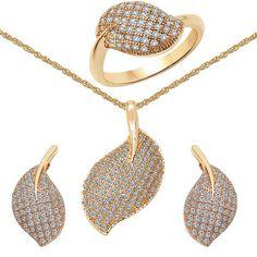 CZ Studded Brass Pendant, Earrings & Ring Set with Chain #indianfashion #indiapokemongo #pokemongoplus #JewelryCollection