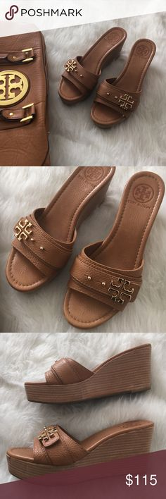Tory Burch Elina Leather Wedges These pebble leather wedges are in great condition. Shoes do not come with box. Perfect for fall! Tory Burch Shoes Wedges