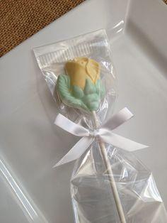 Vanilla, white chocolate Yellow Rose lollipop...Flower  www.rosebudchocolates.com
