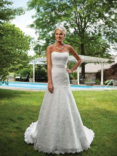 Strapless trumpet /mermaid lace faced satin wedding dress