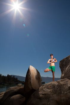 A little yoga on the rocks, Lake Tahoe style.