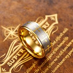 8MM Celtic Design Cross Men's Tungsten Gold Plated Comfort-fit Wedding Band Ring - Tungsten Rings