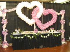 wedding balloon arches | DOUBLE HEART BALLOONS FOR WEDDING BALLOON HEART TULLE CANOPY OVER ...
