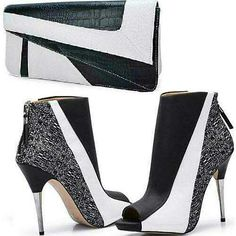 Beautiful back zipper bootie heels, featuring a peep toe style ankle boot sandal, with stiletto high silver metal heel. High Heel Boots, Heeled Boots, Bootie Boots, Bootie Heels, Crazy Shoes, Me Too Shoes, Dream Shoes, Beautiful High Heels, Kinds Of Shoes