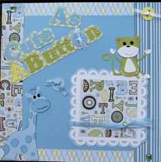 Baby Boy Scrapbook Page  Premade  paper piecing. Click here to visit the best site for handmade scrapbook pages.  http://www.etsy.com/shop/SWAKScrappin, $24.99