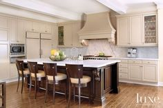 Transitional Mahogany White Kitchen Luxe Interiors Design