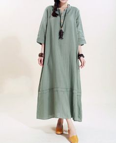 Women linen Maxi dress/ loose linen dress/ Mint Green by MaLieb