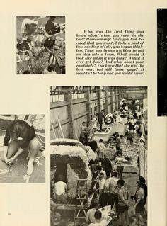 Athena Yearbook, 1962. Ohio University Homecoming, students preparing and creating floats for the parade, Fall 1961, Ohio University Archives
