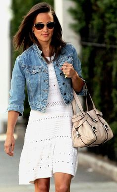 pippa middleton.  jean jacket...I love the style of both sisters!