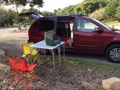 Tour a Converted Minivan Camper - YouTube...so cool! Non permanent conversion...nothing bolted in. They even created an attached outdoor awning! Sleeps 2...accommodates full size bed...they used foam; wonder if an air mattress would fit instead.