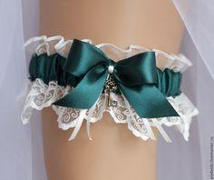 """Купить Подвязка для невесты свадебная """"Изумрудная"""" - подвязка, подвязка для чулок, подвязка на ногу, подвязка на свадьбу"""