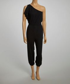 Look what I found on #zulily! Black Asymmetrical Jumpsuit #zulilyfinds