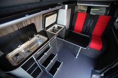 cool campervan and motor home conversions Vw Conversions, Camper Van Conversion Diy, Sprinter Conversion, Campervan Interior, Rv Interior, Volkswagen Transporter, Vw T5, Land Rover Defender, T4 Camper