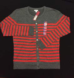 Merona Women's Favorite Long Sleeve Button Down Striped Cardigan - Orange/Gray L #Merona #Cardigan