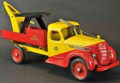 Buddy L Fahrzeuge-Lastwagen Luxus-Kranwagen in gelb und rot, mit Kran