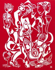 Growth by Melissa Bates. Visit www.visualemporium.com.au to see more of Melissa's art. #art #artist #creative #unqiue #originalart #red #cubism #stencilcut #lifedrawing #nude #figures