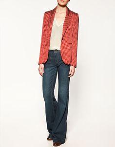 Zara Printed/Polka Dot Blazer Jacket