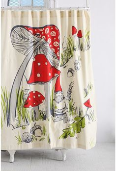 Shower curtain with mushrooms and a gnome. Red, cream, green leaves, acorn