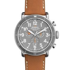Shinola Men's Runwell Sport Chrono 48mm Slate Grey Dial Watch with Tan Beaumont Leather Strap
